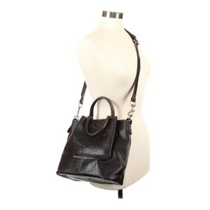 Dooney & Bourke Barlow Bucket Bag Brown Embossed